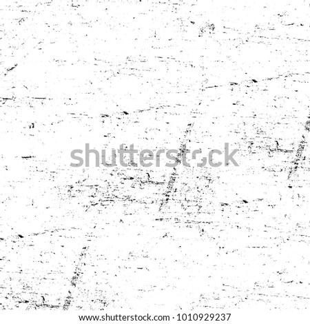 Grunge black and white pattern. Monochrome particles abstract texture. Background of cracks, scuffs, chips, stains, ink spots, lines. Dark design background surface. Gray printing element #1010929237