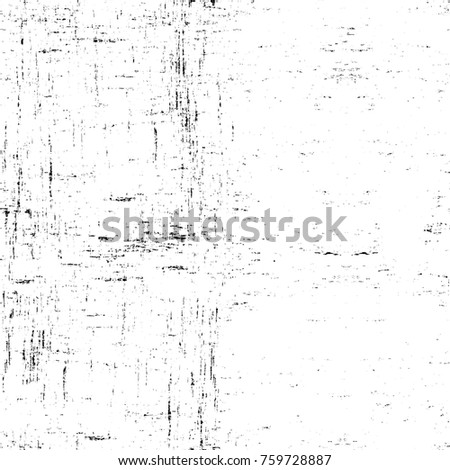 Grunge black and white pattern. Monochrome particles abstract texture. Background of cracks, scuffs, chips, stains, ink spots, lines. Dark design background surface. Gray printing element #759728887