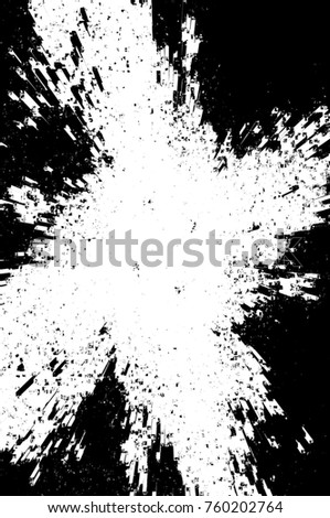 Grunge black and white pattern. Monochrome particles abstract texture. Background of cracks, scuffs, chips, stains, ink spots, lines. Dark design background surface. Gray printing element #760202764