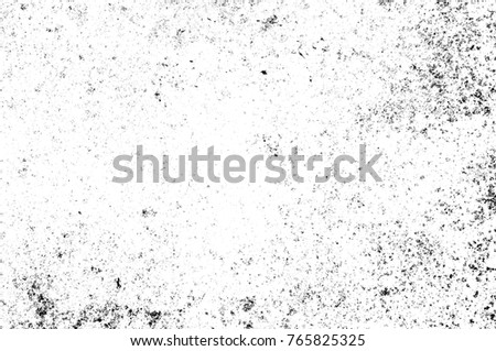 Grunge black and white pattern. Monochrome particles abstract texture. Background of cracks, scuffs, chips, stains, ink spots, lines. Dark design background surface. Gray printing element #765825325