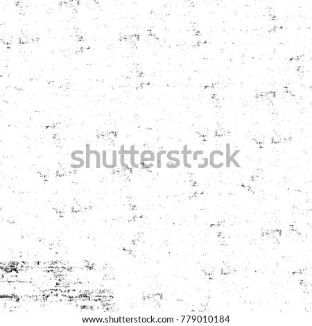 Grunge black and white pattern. Monochrome particles abstract texture. Background of cracks, scuffs, chips, stains, ink spots, lines. Dark design background surface. Gray printing element #779010184