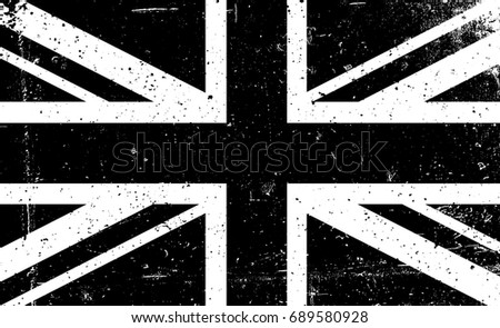 Grunge black and white  Raster image of the British flag. Abstract grungy Great Britain background. Union Jack flag. United Kingdom aged background