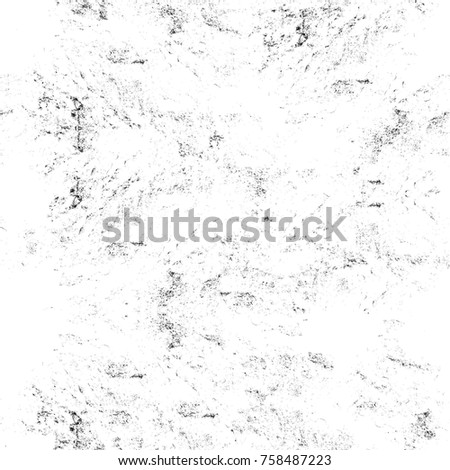 Grunge black and white seamless pattern. Monochrome abstract texture. Background of cracks, scuffs, chips, stains, ink spots, lines. Dark design background surface. Gray printing element #758487223