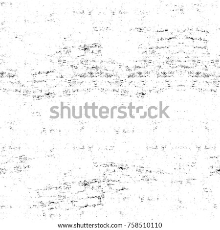 Grunge black and white seamless pattern. Monochrome abstract texture. Background of cracks, scuffs, chips, stains, ink spots, lines. Dark design background surface. Gray printing element #758510110