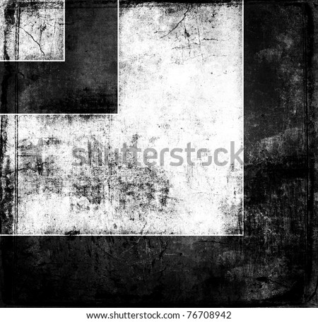Grunge black and white square background