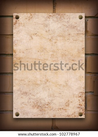 Grunge blank background on a brick wall