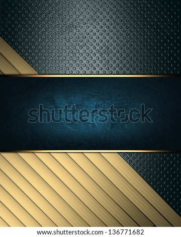 Grunge blue background with gold ribbons and blue nameplate. Template design. Template for writing text. Template website