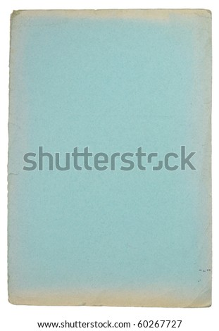 Grunge blue carton water color paper isolated on white