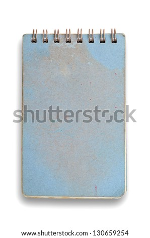 Grunge blue notebook with spiral ring isolated on white.