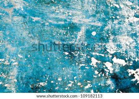 grunge blue paint on metal background