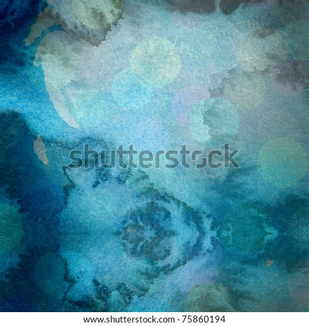 grunge blue watercolor background with washes and runs