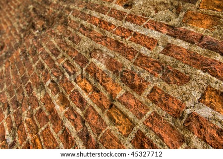 Grunge brick background in oblique direction with good detail.