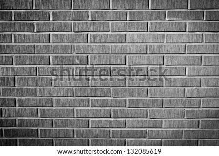 grunge brick facade wall texture, black and white version