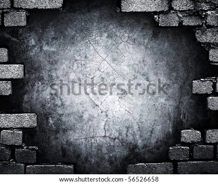grunge brick wall with hole - stock photo