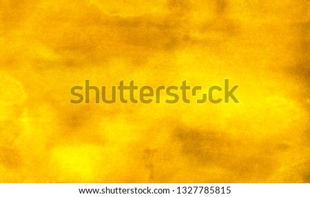 Grunge bright yellow and orange color shades watercolor background. Vivid ink aquarelle paint paper texture canvas element for text design, invitation card, vintage template illustration #1327785815
