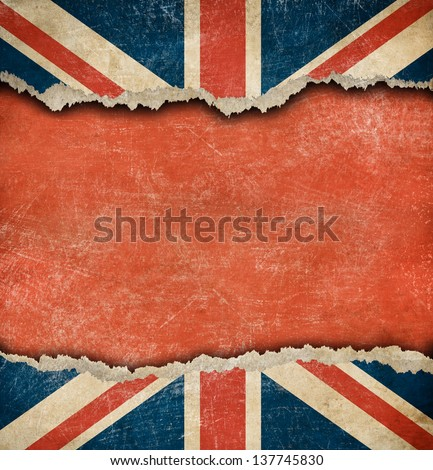 Grunge British flag on ripped paper with big empty space