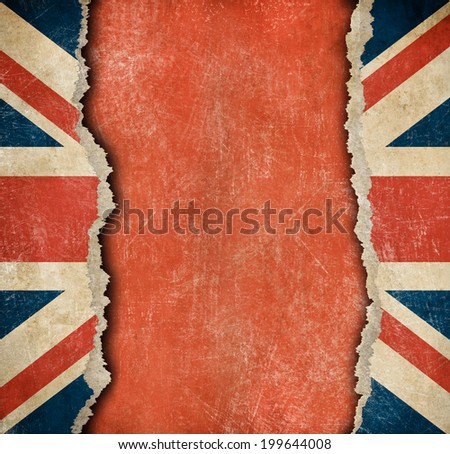 grunge british flag on torn...