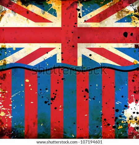 grunge British flag with abstract stains