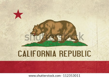 Grunge California state flag of America, isolated on white background.