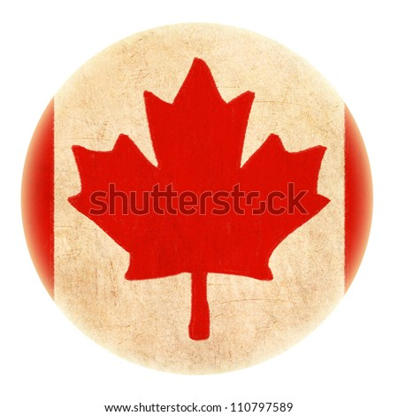 grunge Canada flag drawing button