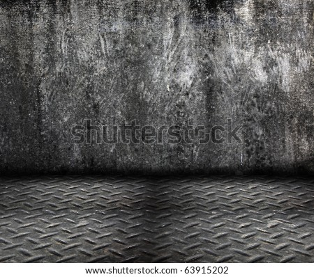 grunge cement wall with metal floor in dirty room style