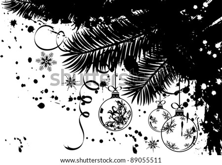 Grunge Christmas frame with fir and baubles, element for design, vector illustration