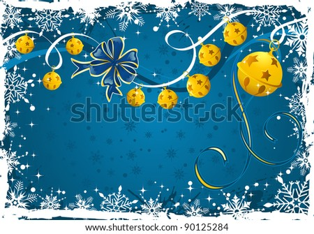 Grunge Christmas frame with snowflakes, bell, element for design, raster version