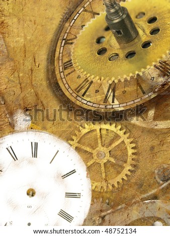 Grunge clock background with time machines tools