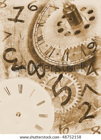 Grunge clock background with time machines tools and flying numbers.Sepia colors.