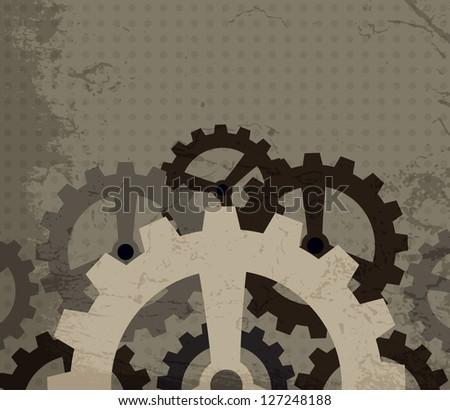 grunge cogwheel background (raster version)