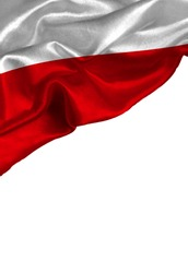 Grunge colorful flag Poland with copyspace for your text or images,isolated on white background. Close up, fluttering downwind.