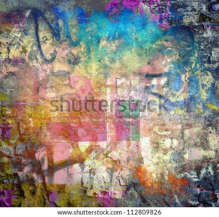 Grunge colorful texture, graffiti background