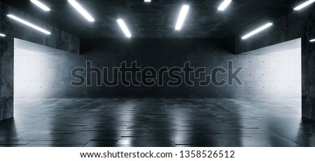 Grunge Concrete Bright Sci Fi Modern Empty Hall Garage Tunnel Corridor With White Lights Led Studio Contrast Look Reflective Texture Room Architecture Cement Background 3D Rendering Illustration