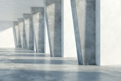 Grunge concrete room interior with daylight. 3D Rendering