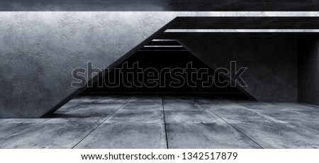 Grunge Concrete Sci Fi Elegant Modern Futuristic Spaceship Underground Tunnel Hall Gallery Room Empty Space Tiled Floor Reflections Abstract Background Alien 3D Rendering Illustration