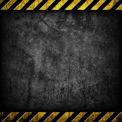 grunge concrete with warning stripe