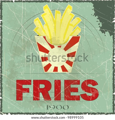 Grunge Cover for Fast Food Menu - fries on vintage background - JPEG version