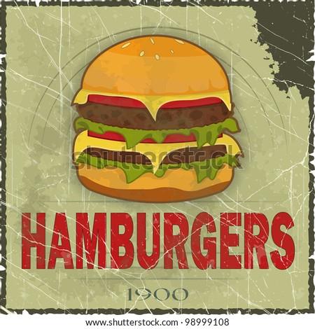 Grunge Cover for Fast Food Menu - hamburger on vintage background - JPEG version