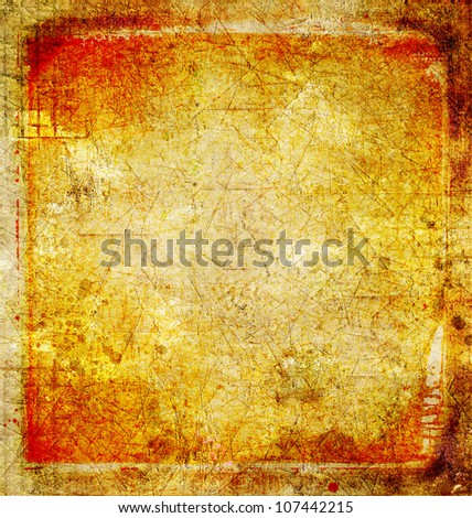 Grunge cracked background in red and yellow - stock photo