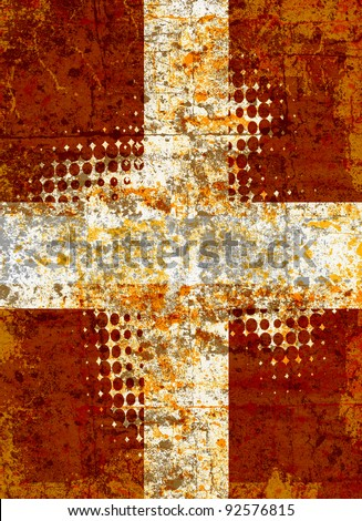 Grunge cross with halftone pattern