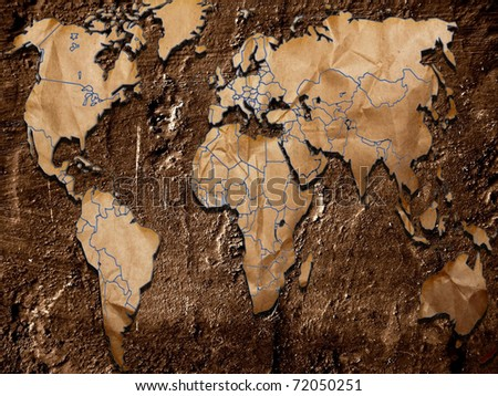 Grunge crumpled World Map