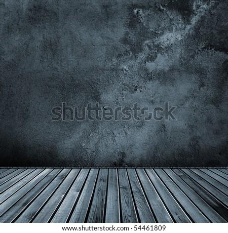 grunge dark interior with wooden floor