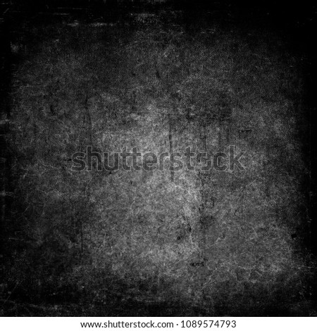 Grunge dark scary background, obsolete texture with black frame and space for your design #1089574793