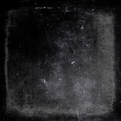 Grunge dark scratched background with black frame, old film effect, distressed scary horror texture