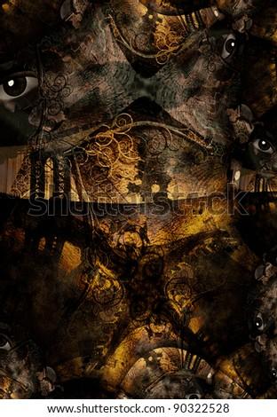 Grunge Dark Textured Bridge Abstract