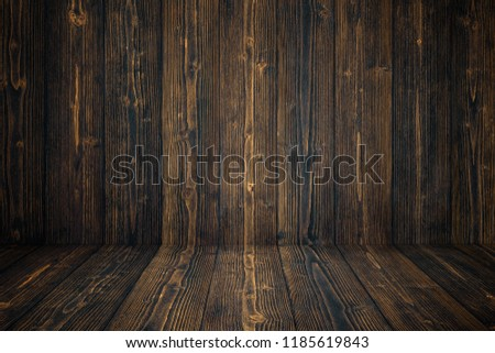 Grunge dark wood background wall and floor. wooden texture. surface, display backdrop, put product on floor. #1185619843