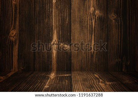 Grunge dark wood background wall and floor. wooden texture. surface, display backdrop, put product on floor. #1191637288