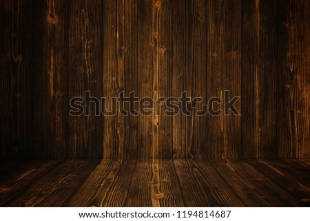 Grunge dark wood background wall and floor. wooden texture. surface, display backdrop, put product on floor. #1194814687