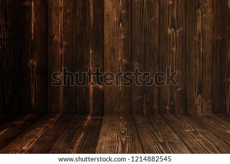 Grunge dark wood background wall and floor. wooden texture. surface, display backdrop, put product on floor. #1214882545