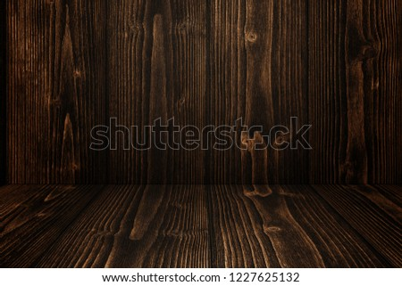 Grunge dark wood background wall and floor. wooden texture. surface, display backdrop, put product on floor. #1227625132